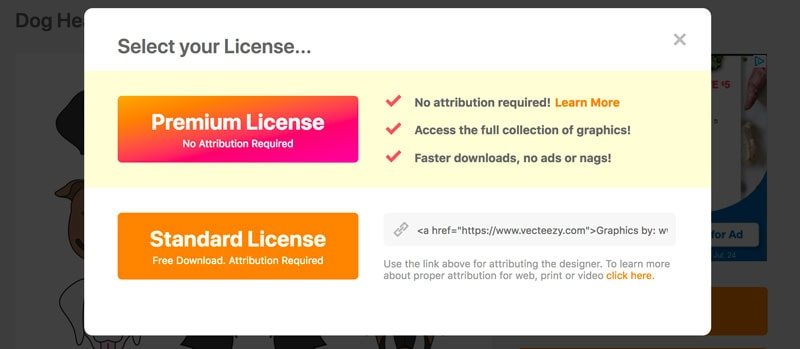 Screenshot of an image licensing selection screen. The more expensive Premium License stands out visually versus the free Standard License