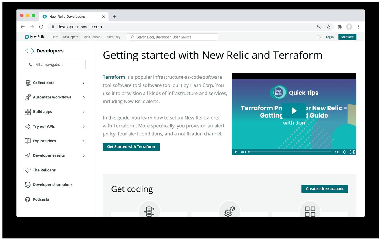 The New Relic developer website