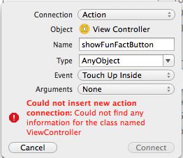 Getting an error in Xcode 6 0 1 when trying to connect the