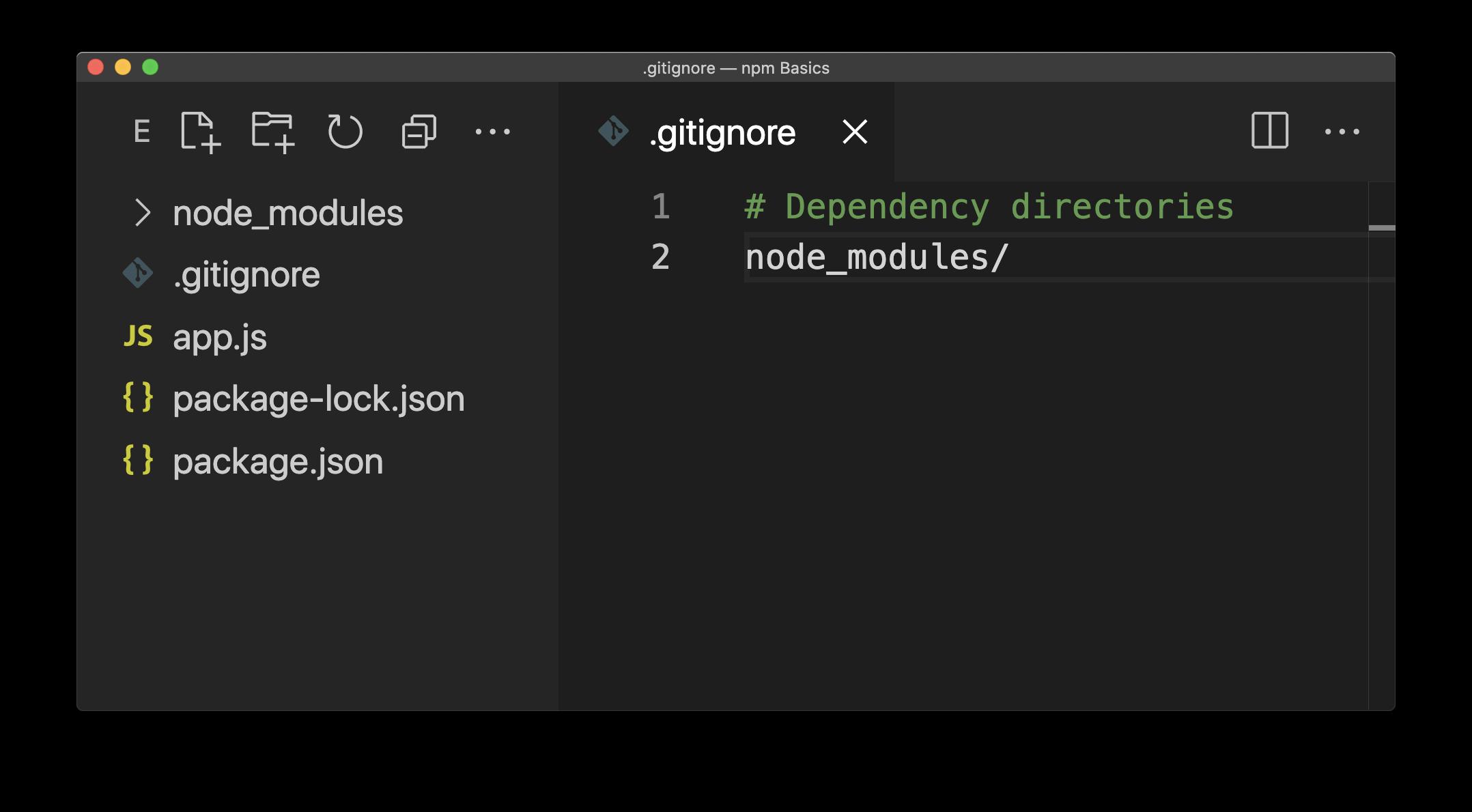 A .gitignore file listing the node_modules directory