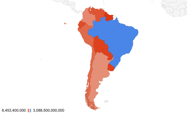 South America Total GDP Geo Chart