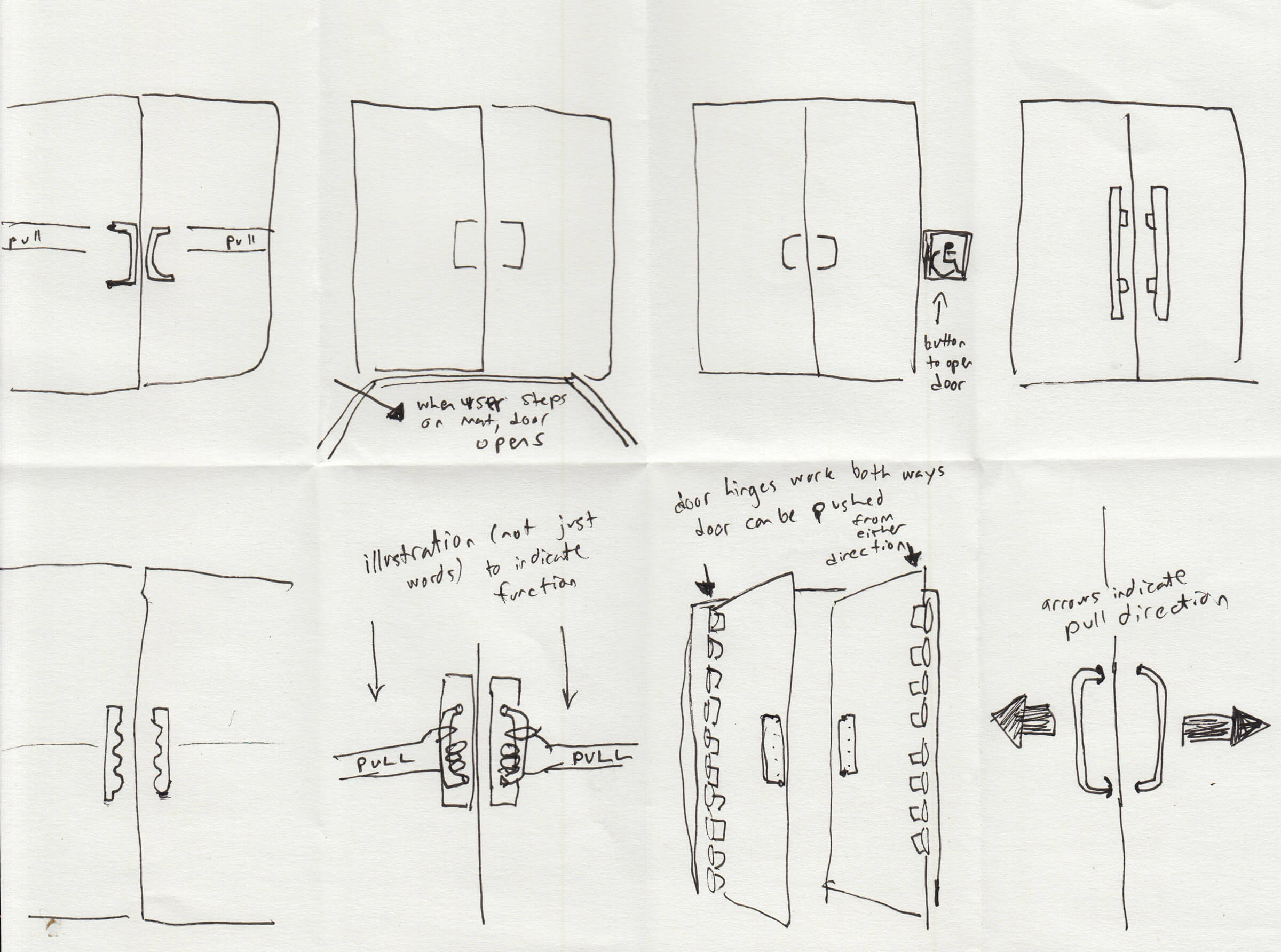 Eight solution sketches for a Norman door