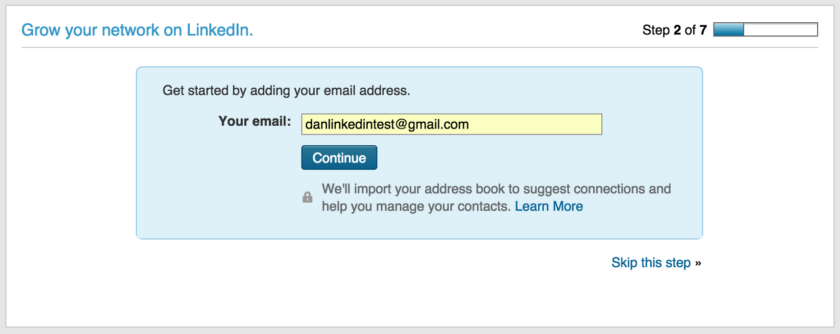 LinkedIn signup screenshot. Small text reads We'll import your address book to suggest connections and help you manage your contacts.