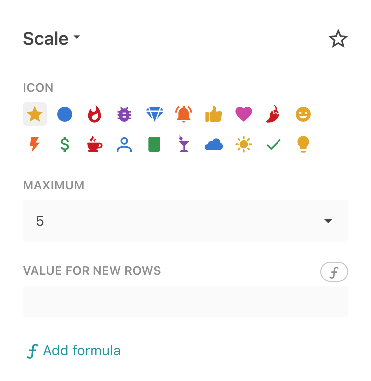 Available options for the Scale column format