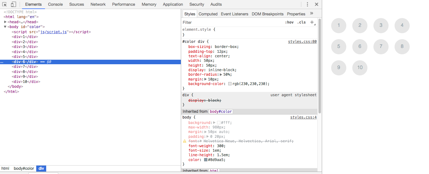 For Loops--Downloaded code solution & the css, html, and  js