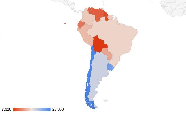 South America Per Capita GDP Geo Chart