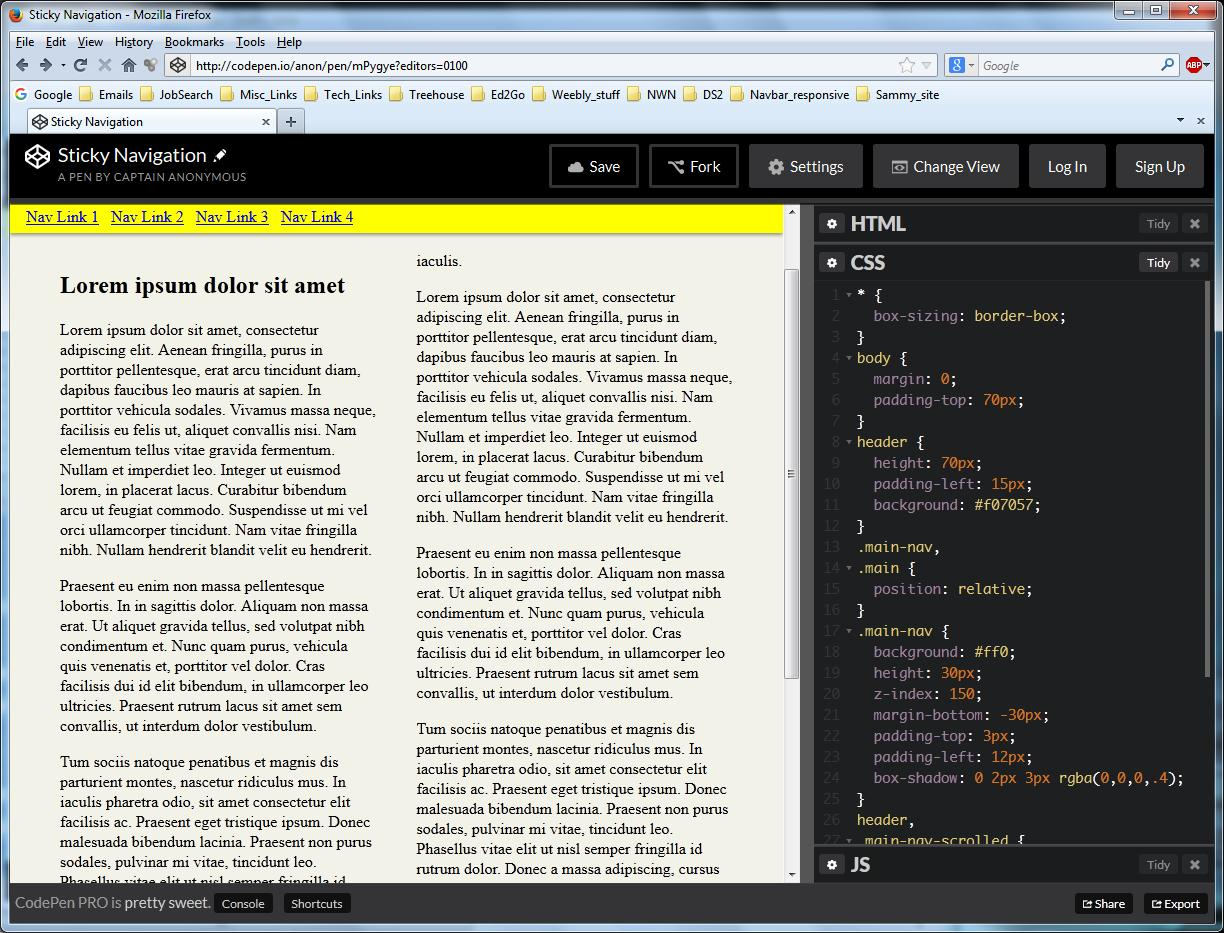 Forum Tip: Create a Sticky Navigation with CSS and jQuery