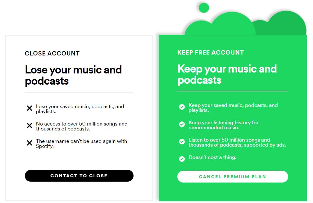 Spotify screenshot: Close Account versus Keep Account